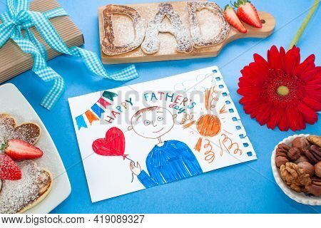 Concept Happy Father Day. Childs Drawing Of Her Dad. Fathers Day Breakfast Pancakes Dad Letters And