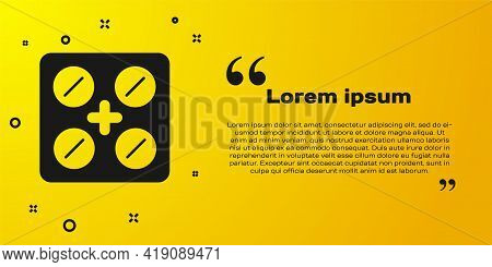 Black Pills In Blister Pack Icon Isolated On Yellow Background. Medical Drug Package For Tablet, Vit