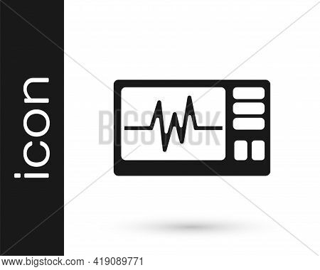 Black Computer Monitor With Cardiogram Icon Isolated On White Background. Monitoring Icon. Ecg Monit