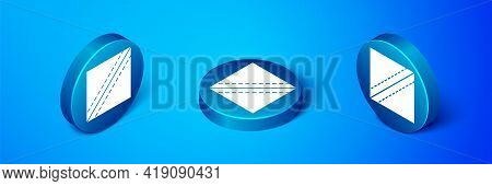 Isometric Textile Fabric Roll Icon Isolated On Blue Background. Roll, Mat, Rug, Cloth, Carpet Or Pap