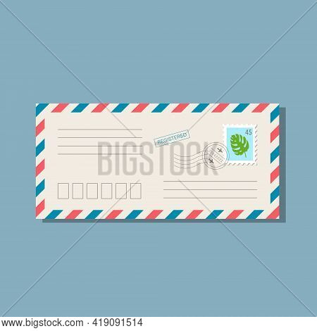 Beige Long Envelope With Frame Of Blue And Red Stripes. Postmarks And Postage Stamp With Monstera Le