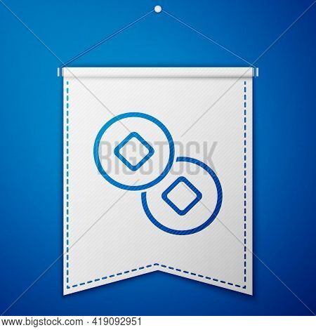Blue Chinese Yuan Currency Symbol Icon Isolated On Blue Background. Coin Money. Banking Currency Sig