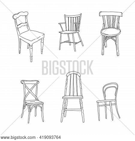 Trendy Scandinavian Doodle Chairs. Interior Design Illustration. Dinning And Living Room Chairs. . V