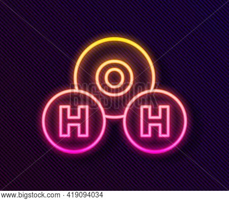 Glowing Neon Line Chemical Formula For Water Drops H2o Shaped Icon Isolated On Black Background. Vec
