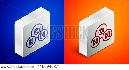 Isometric Line Chemical Formula For Water Drops H2o Shaped Icon Isolated On Blue And Orange Backgrou