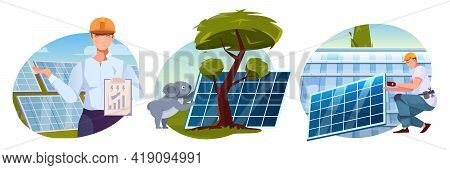Eco Friendly Solution Flat Compositions With Solar Farm And Employee And Worker Mounting Solar Energ