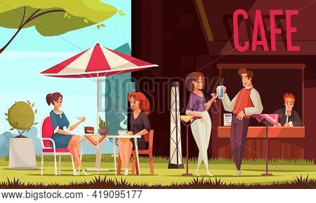 Restaurant Patio Outdoor Area Street Cafe Service Counter Visitors Chatting Enjoying Drinks Outdoor
