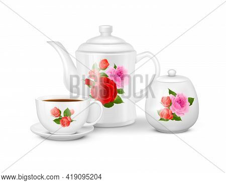 Realistic Porcelain Tea Or Coffee Set With White Cup Saucer Teapot And Sugar Bowl With Floral Orname