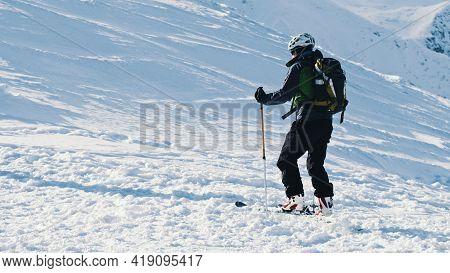 Kasprowy Wierch, Poland 28.01.2021 - Skier Holding Ski Poles On A Snowy Landscape . High Quality Pho