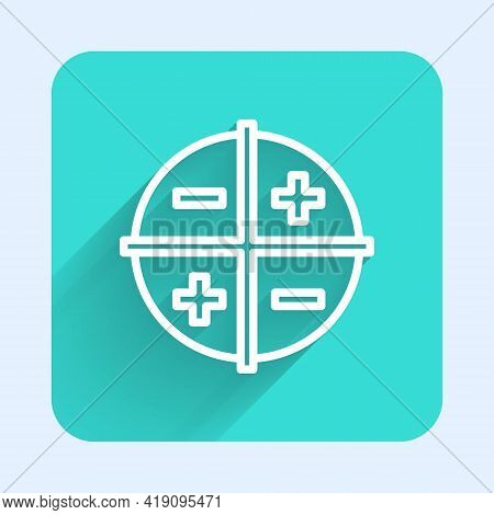White Line Xyz Coordinate System Icon Isolated With Long Shadow. Xyz Axis For Graph Statistics Displ