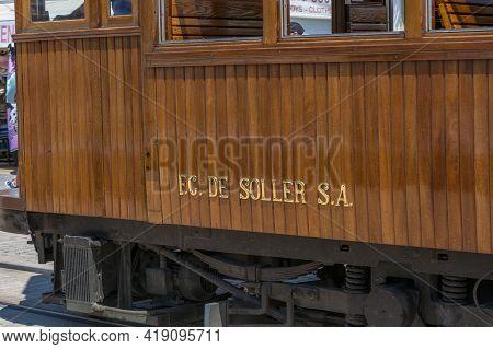 Vintage Train, Tram In Port De Soller, Mallorca