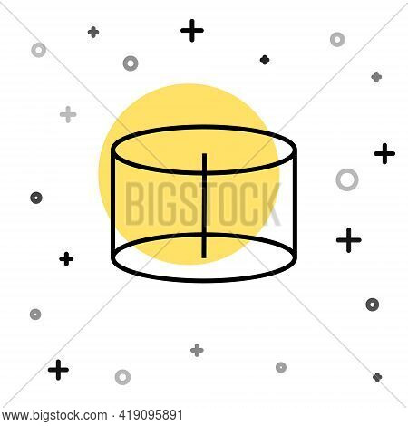 Black Line Geometric Figure Cylinder Icon Isolated On White Background. Abstract Shape. Geometric Or