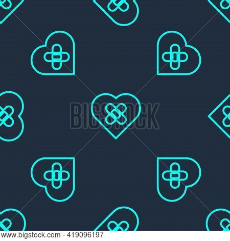 Green Line Healed Broken Heart Or Divorce Icon Isolated Seamless Pattern On Blue Background. Shatter