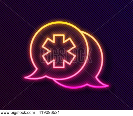 Glowing Neon Line Dialogue With The Doctor Icon Isolated On Black Background. Doctor And Patient Dia