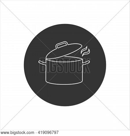 Cooking Pot Or Stockpot Stock Pot Flat Vector Line White Icon For Cooking