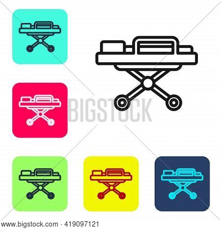 Black Line Stretcher Icon Isolated On White Background. Patient Hospital Medical Stretcher. Set Icon