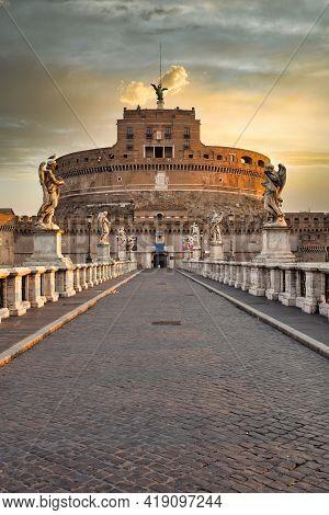 Rome, Italy - Circa August 2020: Castel Sant'angelo (saint Angel Castle) In Rome (roma), Italy. Hist