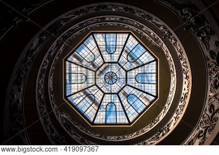 Rome, Italy - Circa September 2020: The Famous Spiral Staircase With Double Helix Made By Giuseppe M