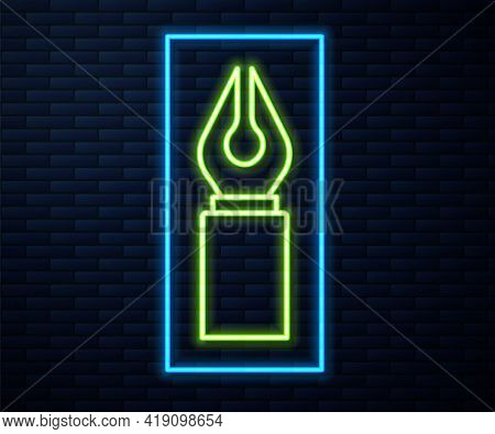 Glowing Neon Line Fountain Pen Nib Icon Isolated On Brick Wall Background. Pen Tool Sign. Vector
