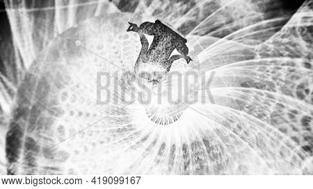 Meditating Monochrome Silhouette Of A Yogi Rotating Inside A Tunnel, Concept Of Concentration And Mi