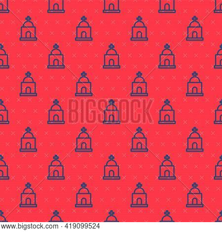 Blue Line Old Crypt Icon Isolated Seamless Pattern On Red Background. Cemetery Symbol. Ossuary Or Cr