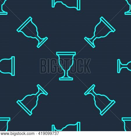 Green Line Christian Chalice Icon Isolated Seamless Pattern On Blue Background. Christianity Icon. H