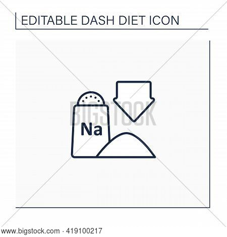 Low Sodium Line Icon. Exclude Processed And Packaged Foods. Chips, Frozen Dinners And Fast Food. Wit