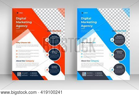 Corporate Business Flyer Template Design Set With Blue And Orange Color. Marketing, Business Proposa