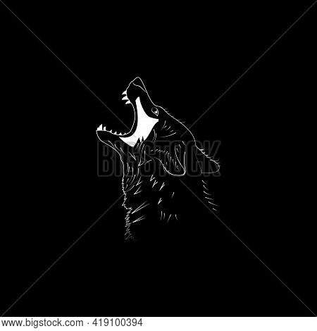 Vector Illustration. Wolf Image. White On Black. Predator.