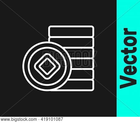 White Line Chinese Yuan Currency Symbol Icon Isolated On Black Background. Coin Money. Banking Curre