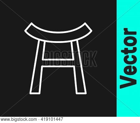 White Line Japan Gate Icon Isolated On Black Background. Torii Gate Sign. Japanese Traditional Class