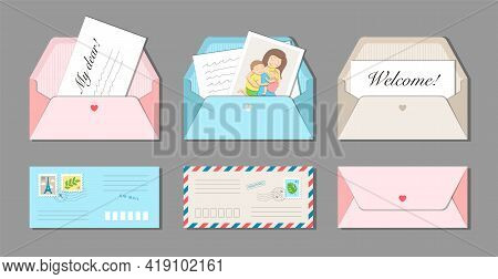 Set Of Six Long Envelopes With Postmarks And Postage Stamps. Letters And Family Photo Card Inside. C