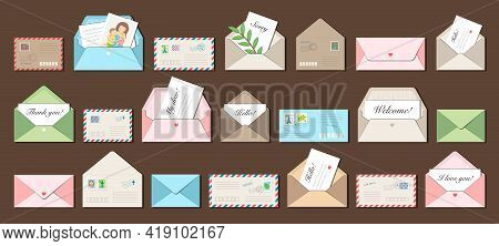 Big Set Of 21 Vector Envelopes With Postmarks, Postage Stamps And Letters Inside. Trendy Style, Cozy