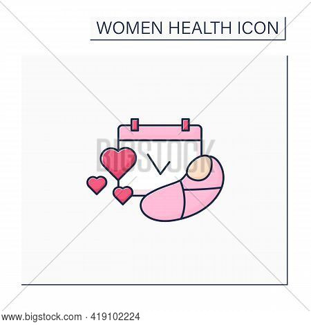 Family Planning Color Icon. Having Baby. Prudent Approach To Pregnancy Planning.women Health Concept