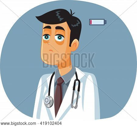 Exhausted Medical Doctor Suffering Of Burnout Vector Illustration