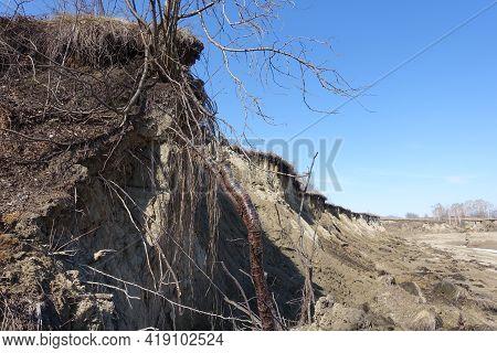 Spring Landslide Of A Sandy Ravine. Fallen Trees. Spring Landscape