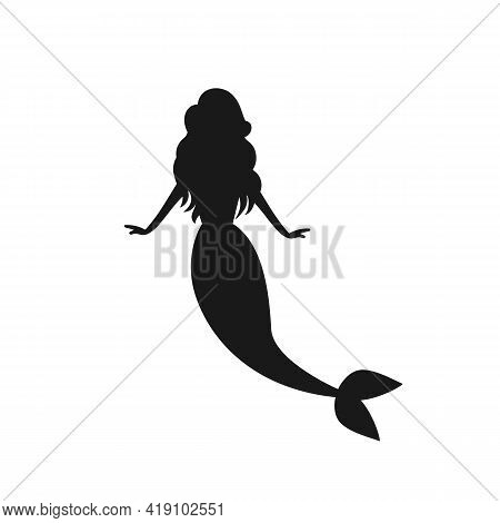 Beautiful Mermaid Silhouette Isolated On White Background.  Little Mermaid Character. Vector Stock