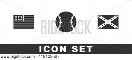 Set American Flag, Baseball Ball And Flag Confederate Icon. Vector