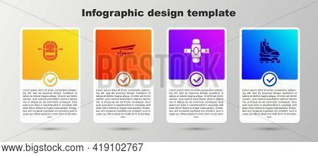 Set Rafting Boat, Hang Glider, Knee Pads And Roller Skate. Business Infographic Template. Vector
