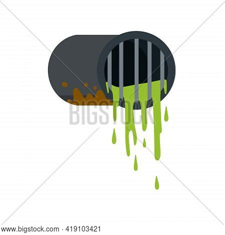 Pipe With Water. Drainage System. Water Supply And Sewerage. Industrial Drain. Flat Cartoon Illustra