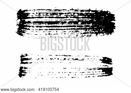 Black Color Handdrawing Texture Brush On White Background (vector)