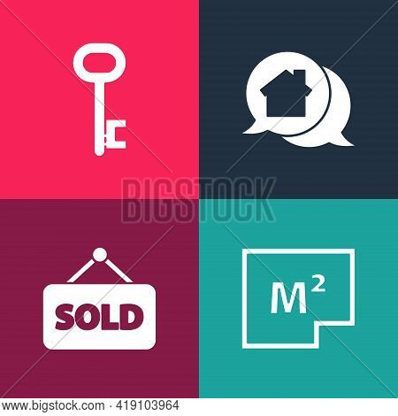 Set Pop Art House Plan, Hanging Sign With Text Sold, Real Estate Message House And Key Icon. Vector