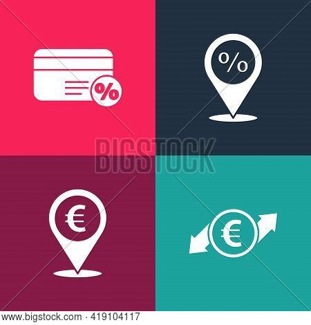 Set Pop Art Financial Growth And Euro Coin, Cash Location, Location With Percent Discount And Discou