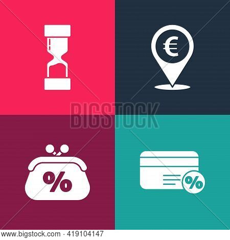 Set Pop Art Discount Card With Percent, Purse Money, Cash Location And Old Hourglass Icon. Vector