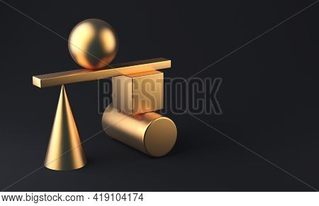 Abstract 3d Rendering Of Gold Geometric Shapes. Minimalistic Composition, Copy Space. 3d Rendering