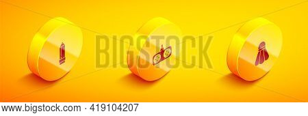 Set Isometric Pencil With Eraser, Gamepad And Badminton Shuttlecock Icon. Vector