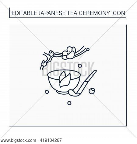 Tea Scoop Line Icon. Unique Ladle For Traditional Herbal Tea In Cup.japanese Ethnic And National Cer