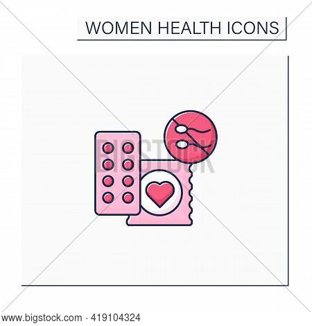 Drug Color Icon. Contraception. Pills And Condoms.unwanted Pregnancy. Health Care. Woman Health Conc