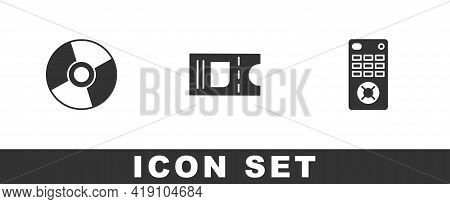 Set Cd Or Dvd Disk, Cinema Ticket And Remote Control Icon. Vector