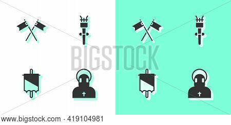 Set Monk, Crossed Medieval Flag, Medieval And Torch Flame Icon. Vector